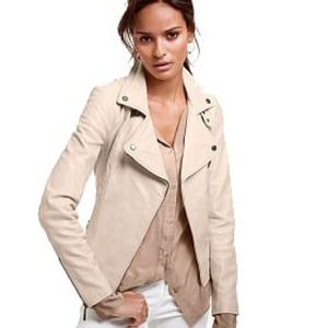 Pastel Blush Nude Leather Moto Jacket