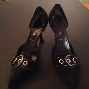Prada Shoes - Prada black suede D'Orsay pump