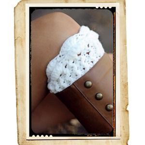 Shoes - White Ruffle Knit Boot Cuffs
