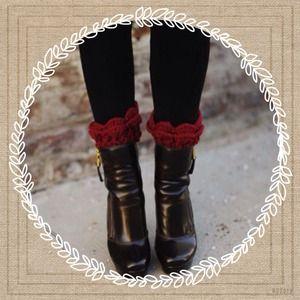 Shoes - Burgundy Ruffle Knit Boot Cuffs