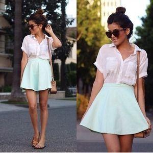 AA // Mint Corduroy Circle Skirt