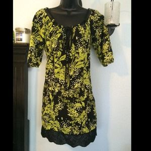 Victoria's Secret Retro Lime Green/Black Dress