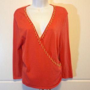 Orange Top W/ Beaded Embellishment