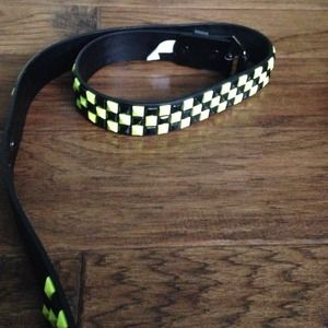 Neon yellow and black studded belt