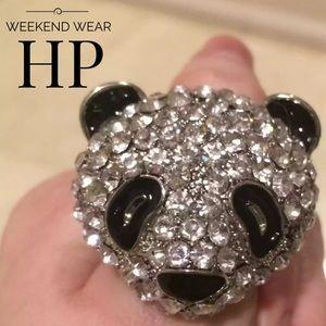 Jewelry - HP! NWOT Rhinestone Panda🐼 Adjustable Ring sz 6-9