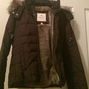 Abercrombie & Fitch Outerwear - Abercrombie and Fitch brown puffer jacket