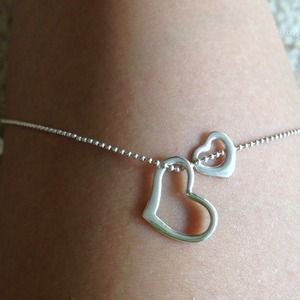 Sterling Silver double heart necklace :)
