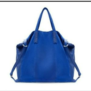 Zara Blue Leather & Suede Shopper/Tote