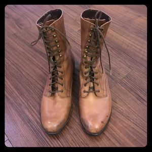 Tan brown lace up bootie
