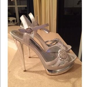Traffic Shoes - Silver Rhinestone Platform