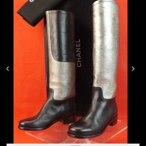 CHANEL SILVER/BLACK RIDING BOOTS