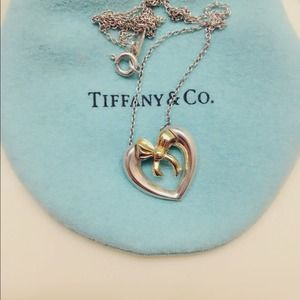 Tiffany & Co. 18K Gold Heart Ribbon  Necklace