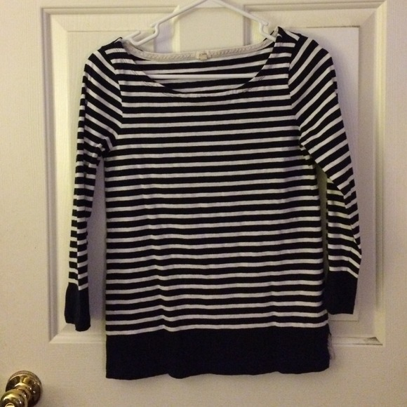 63 Off J Crew Tops Navy And White Striped Boatneck Tee