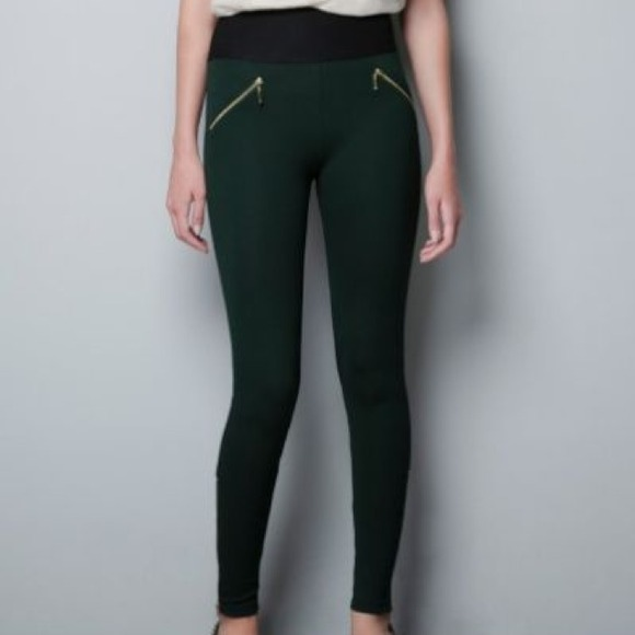 Zara Basic Green Leggings From Tressa
