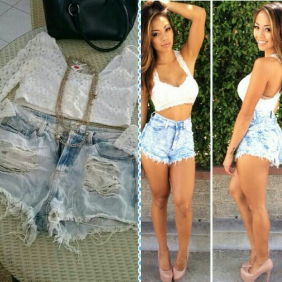 Ripped High Waisted Jean Shorts - Xtellar Jeans