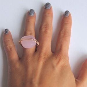 LucyMint Jewelry - Pink Glass Bead Wirer Wrapped Ring