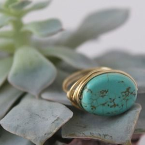 LucyMint Jewelry - Oval Magnesite Turquoise Colored Wire Wrapped Ring