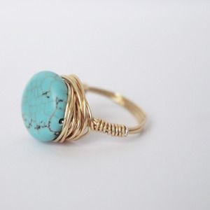 Magnesite Turquoise Colored Bead Wire Wrapped Ring