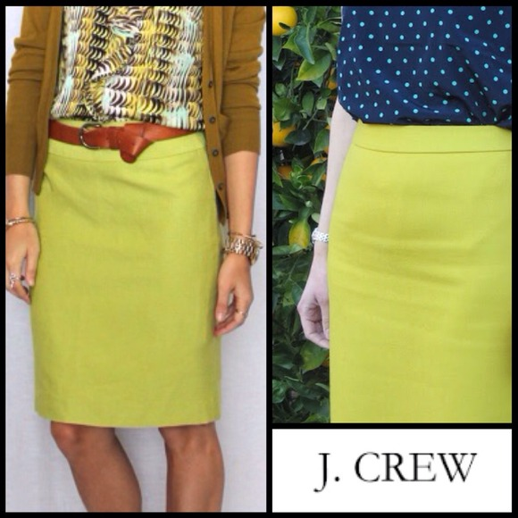 f79e30083 J. Crew Dresses & Skirts - J Crew Stretch Cotton Chartreuse Pencil Skirt