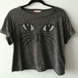 Lush Tops - LUSH Kitty Face crop tee shirt