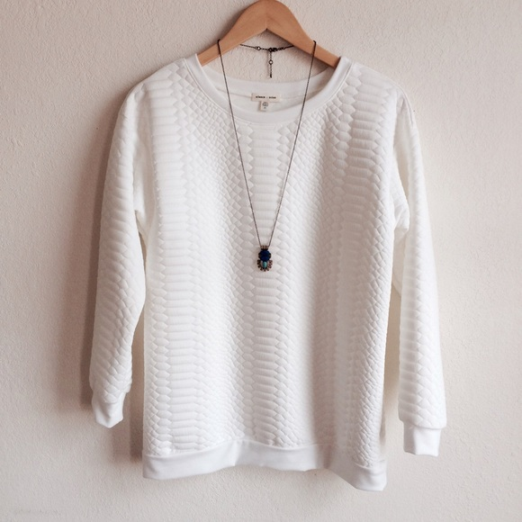 Urban Outfitters Sweaters - Reptile textured white sweatshirt NWOT
