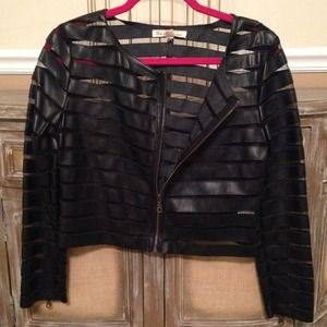 Black Faux Leather & Mesh Insert Striped Blazer