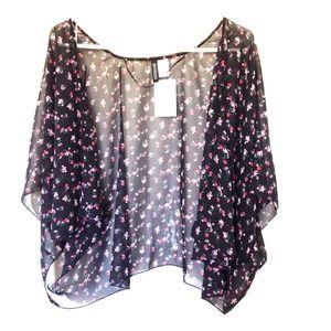 Outerwear - Black Floral Kimono