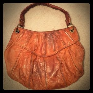 Vintage Cynthia Rowley tan leather hobo handbag