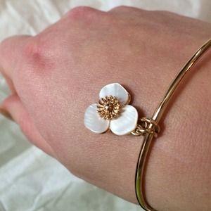Flower shell bangle bracelet.