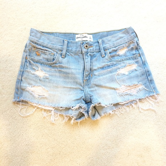 56% off Abercrombie Kids Denim - Lightwash distressed denim shorts ...