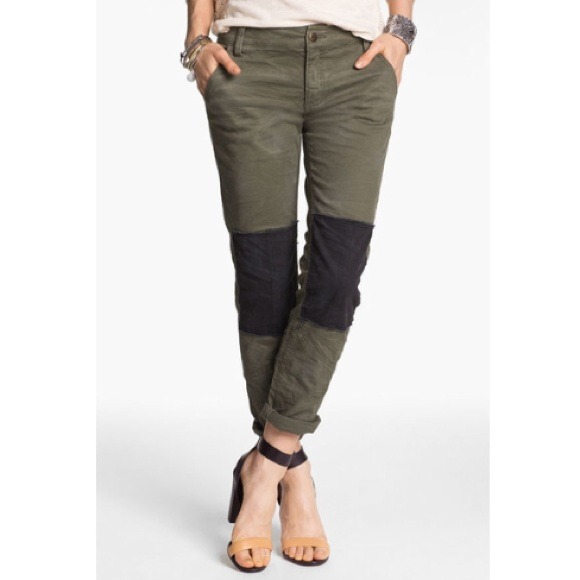 73% off Free People Pants - Free People Knee Patch Twill Pants ...