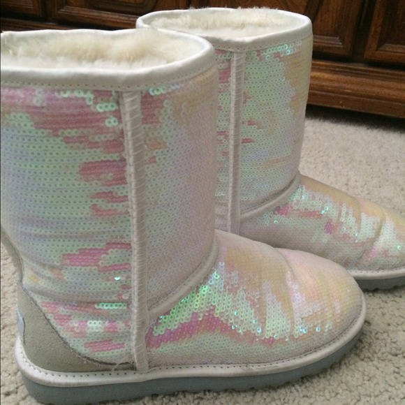 pink and white ugg boots