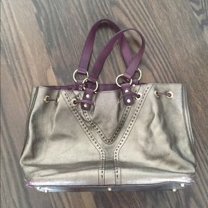 Ysl double sided tote silver and purple
