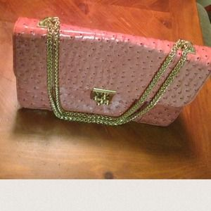 100% PU Leather Pink/Gold Shoulder Purse