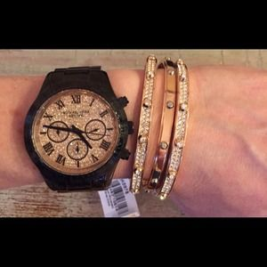 Michael Kors large black watch with Crystal face
