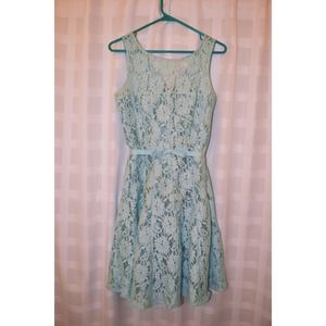 Vintage Blue Lace Overlay Dress