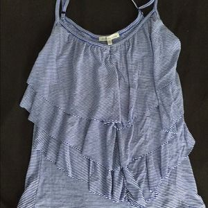 Tiered blue and white striped Charlotte Russe tank
