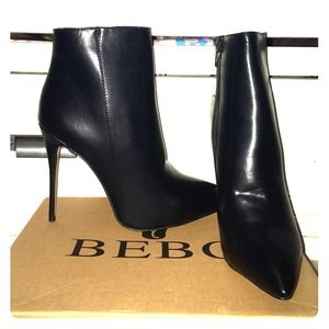 Shoes - Black leather high heel boots