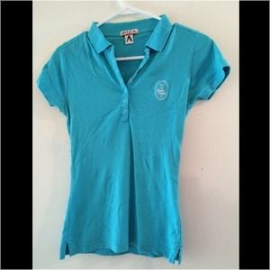 Tops - Turquoise blue fitted golf polo