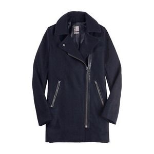 Gap navy blue moto long wool coat
