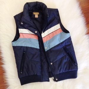 Gadzooks Outerwear - Navy Striped Puffer Vest