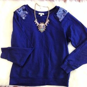 Heritage 1981 Tops - Navy Blue Sweatshirt with Sequin Shoulders