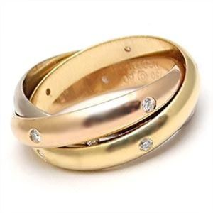 Cartier $4500 3 gold 15 diamond trinity ring 52