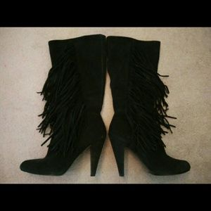 Zara Black Suede Mid-Calf Fringe Boots Size 8