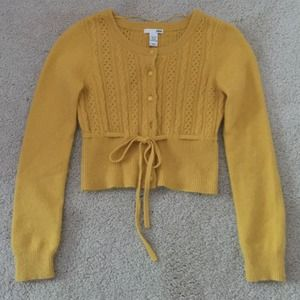 Gold cropped angora sweater xs