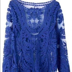 Tops - Cobalt Blue Lace Blouse