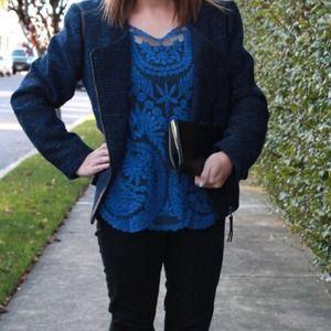 Tops - Cobalt Blue Lace Blouse