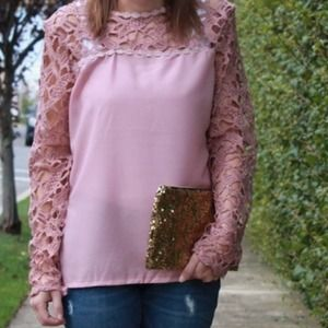 Tops - Pink Lace Blouse
