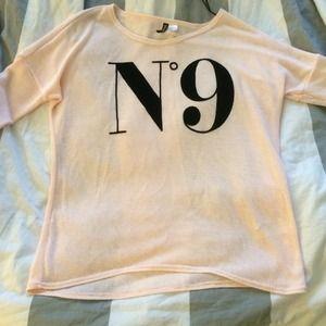 Powder Pink No 9 Sweater Top Shirt H&M divided M