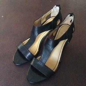 Nine West Leather Sandal Heels